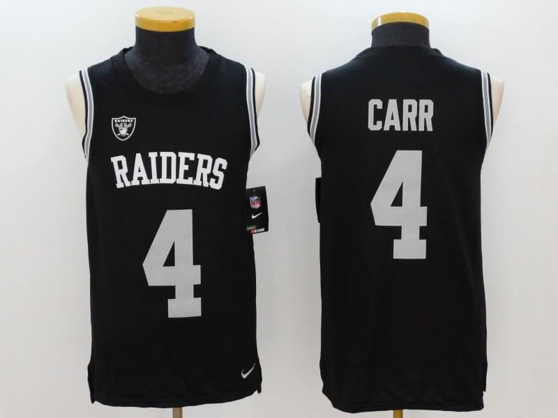 Nike Raiders 4 Derek Carr Black Color Rush Name & Number Tank Top