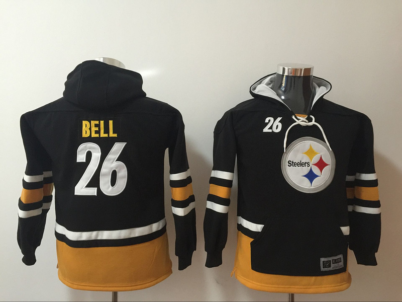 Pittsburgh Steelers 26 Le'Veon Bell Black Youth All Stitched Hooded Sweatshirt