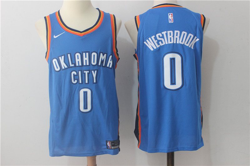 Thunder 0 Russell Westbrook Blue Nike Authentic Jersey