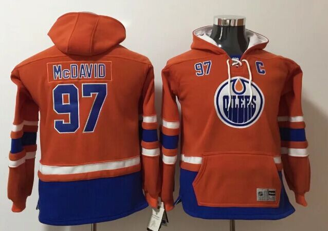 Edmonton Oilers 97 Connor Orange Youth All Stitched Hooded Sweatshirt