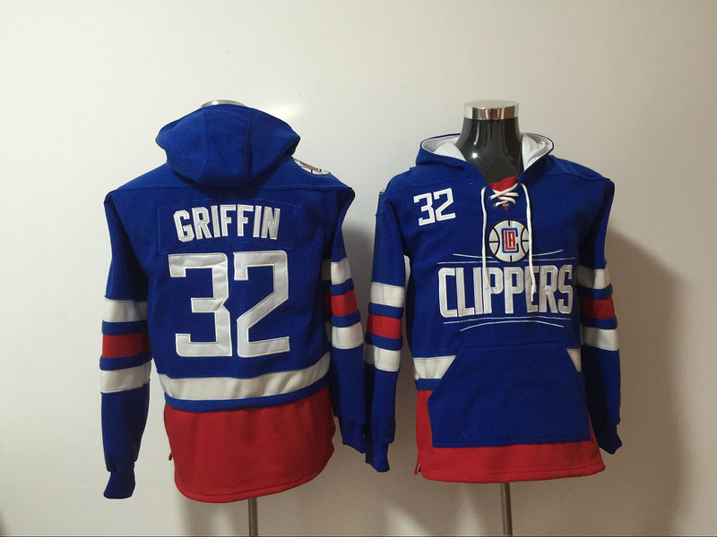 Clippers 32 Blake Griffin Blue All Stitched Hooded Sweatshirt