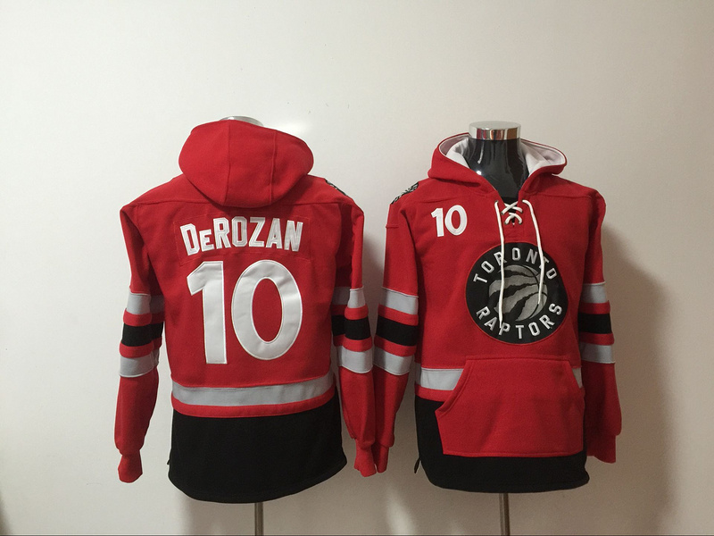 Raptors 10 DeMar DeRozan Red All Stitched Hooded Sweatshirt