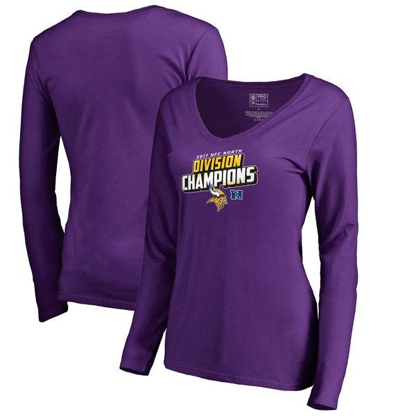 Minnesota Vikings NFL Pro Line by Fanatics Branded Women's 2017 NFC North Division Champions Long Sleeve T Shirt Purple