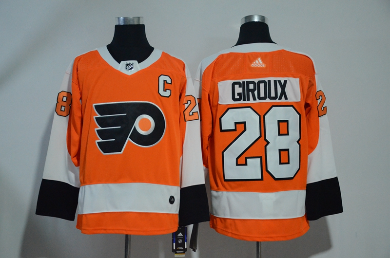 Flyers 28 Claude Giroux Orange Adidas Jersey