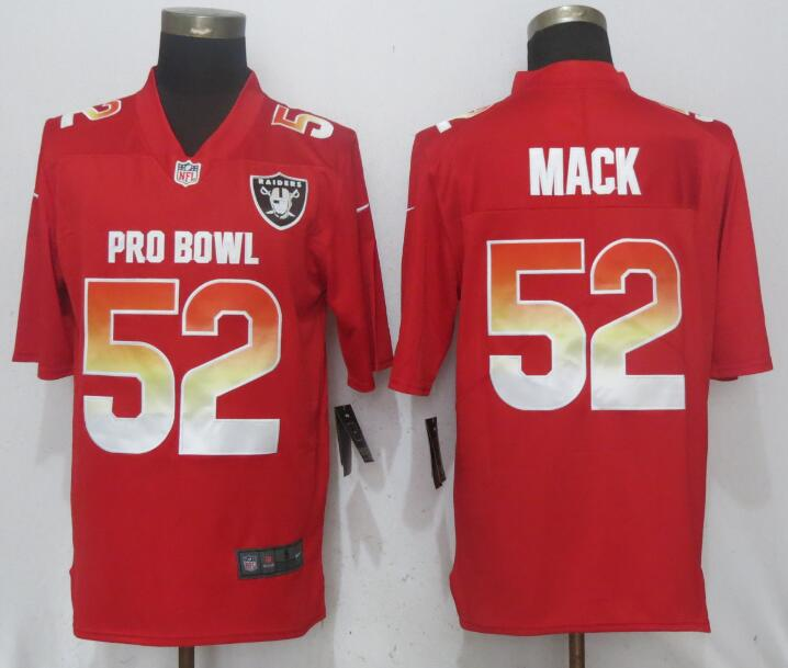 Nike AFC Raiders 52 Khalil Mack Red 2018 Pro Bowl Game Jersey
