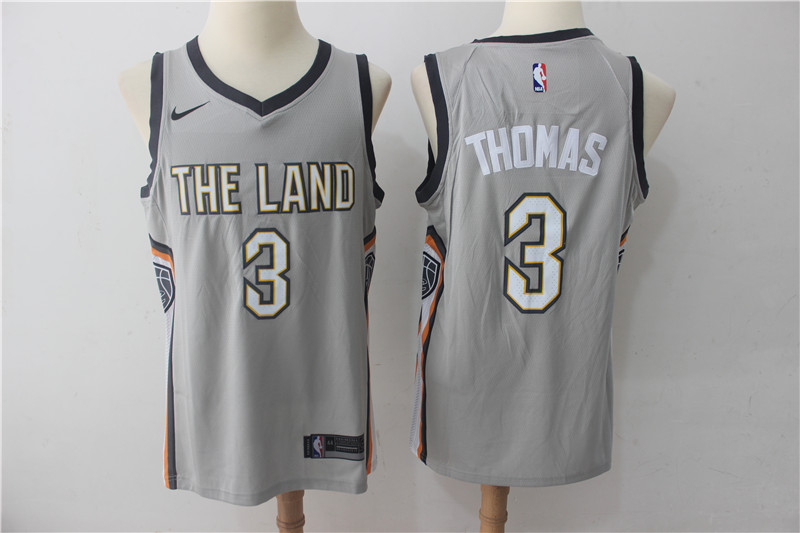 Cavaliers 3 Isaiah Thomas Gray Nike City Edition Swingman Jersey