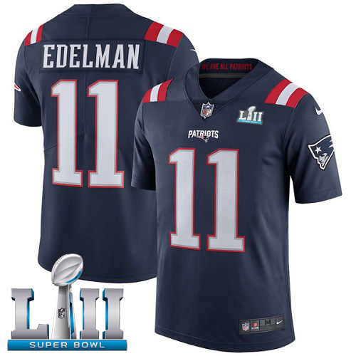 Nike Patriots 11 Julian Edelman Navy 2018 Super Bowl LII Color Rush Limited Jersey