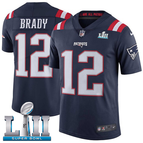 Nike Patriots 12 Tom Brady Navy 2018 Super Bowl LII Youth Corlor Rush Limited Jersey