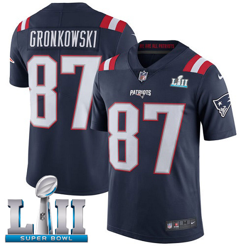 Nike Patriots 87 Rob Gronkowski Navy 2018 Super Bowl LII Youth Corlor Rush Limited Jersey