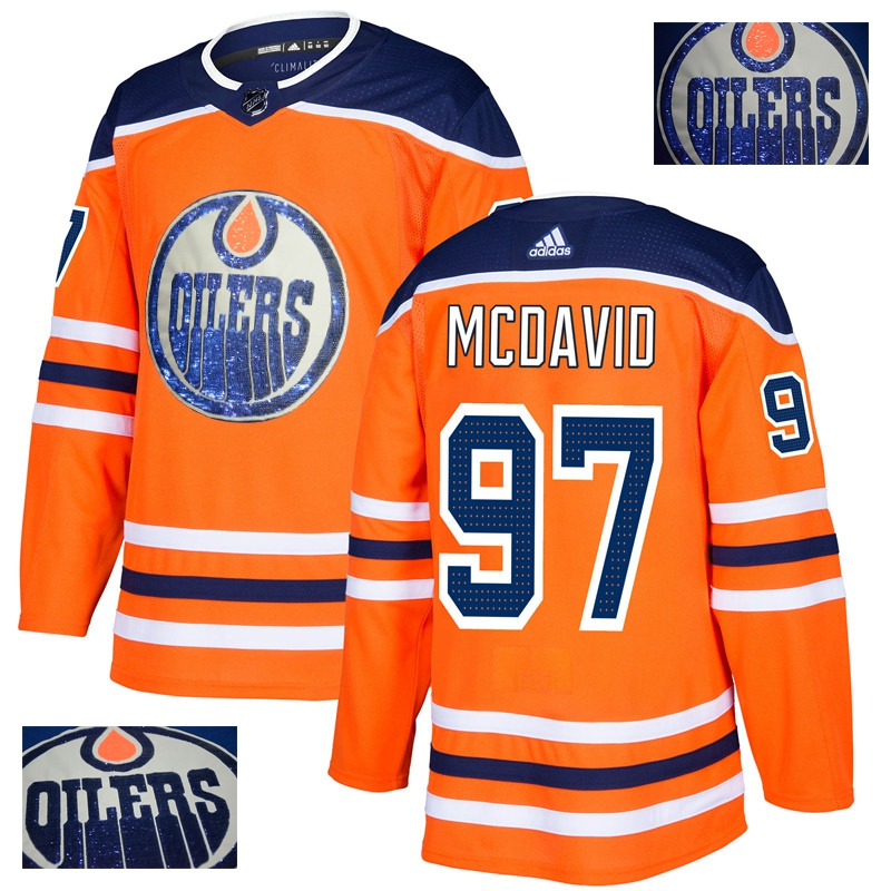 Oilers 97 Connor McDavid Orange With Special Glittery Logo Adidas Jersey