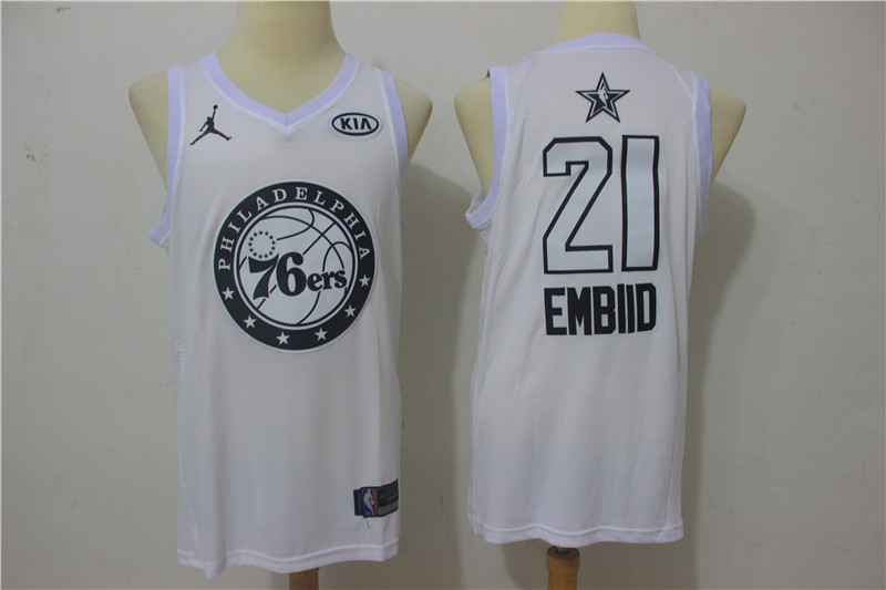 76ers 21 Joel Embiid White 2018 All-Star Game Swingman Jersey