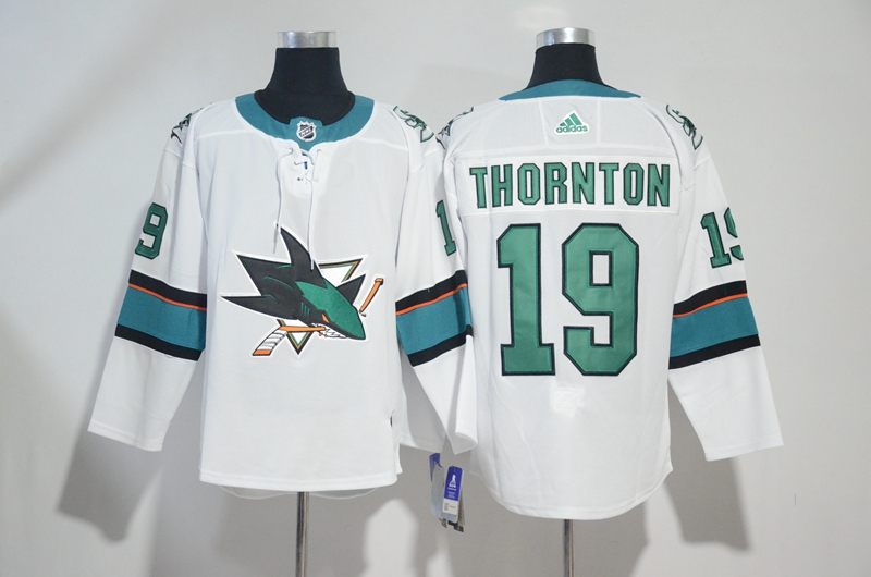Sharks 19 Joe Thornton White Adidas Jersey