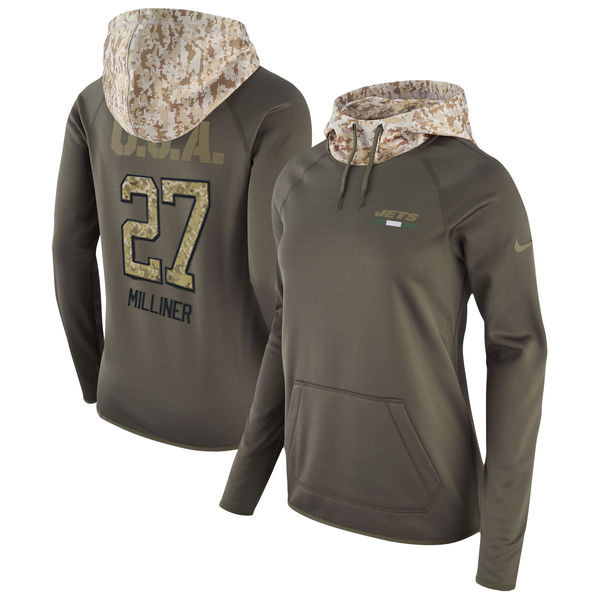 Nike Jets 27 Dee Milliner Olive Women Salute To Service Pullover Hoodie