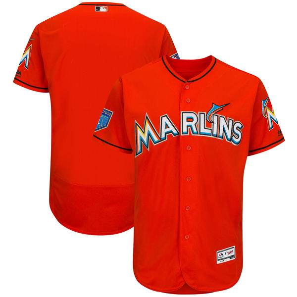 Marlins Blank Orange 2018 Spring Training Flexbase Jersey