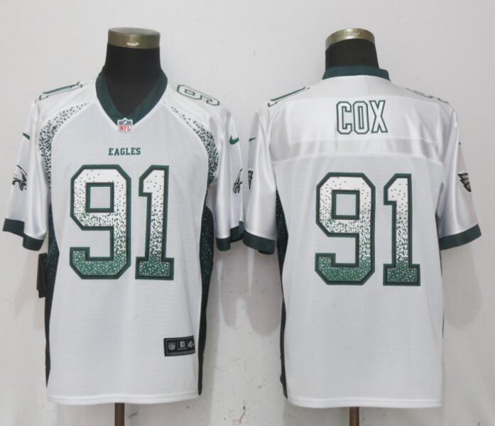 Nike Eagles 91 Fletcher Cox White Drift Fashion Elite Jersey