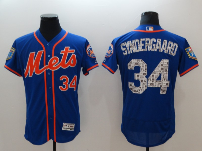 Mets 34 Noah Syndergaard Royal 2018 Spring Training Flexbase Jersey