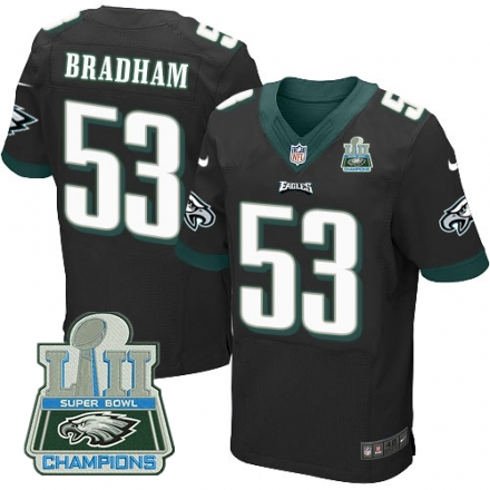Nike Eagles 53 Nigel Bradham Black 2018 Super Bowl Champions Elite Jersey