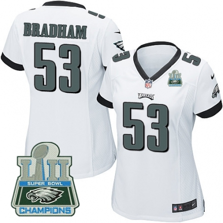 Nike Eagles 53 Nigel Bradham White Women 2018 Super Bowl Champions Game Jersey