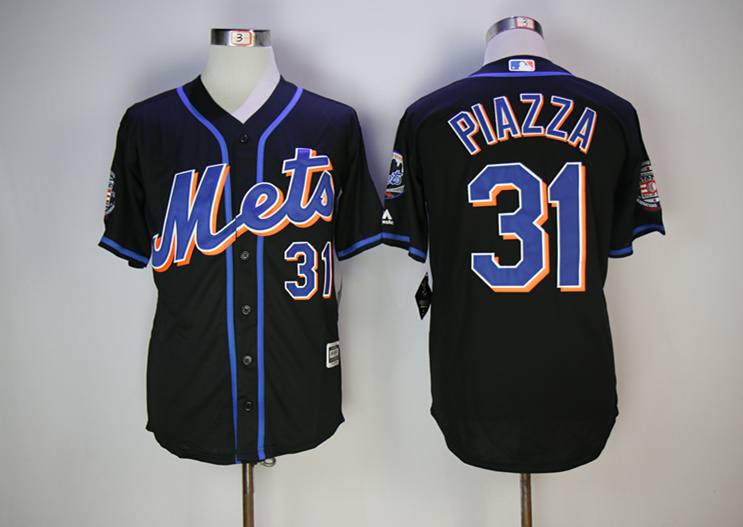 Mets 31 Mike Piazza Black Hall Of Fame Cool Base Jersey