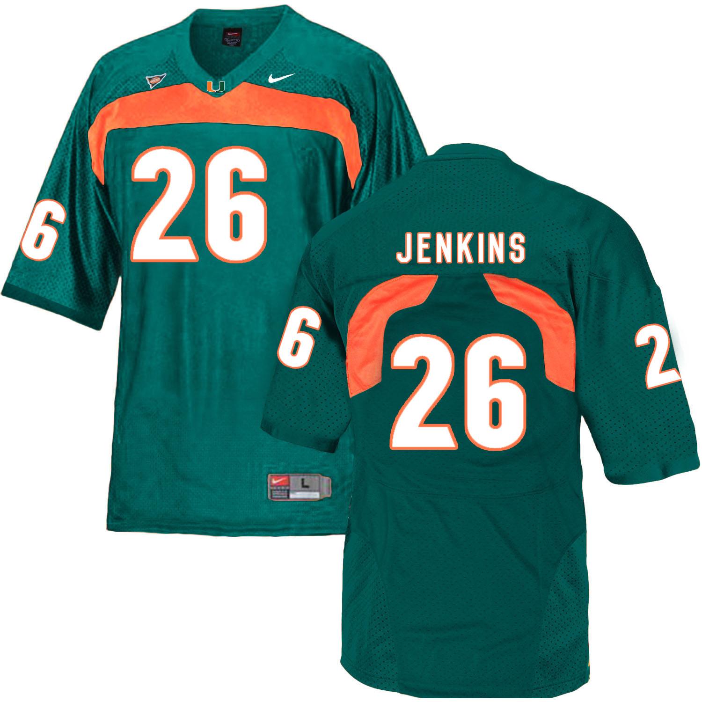 Miami Hurricanes 26 Rayshawn Jenkins Green College Football Jersey