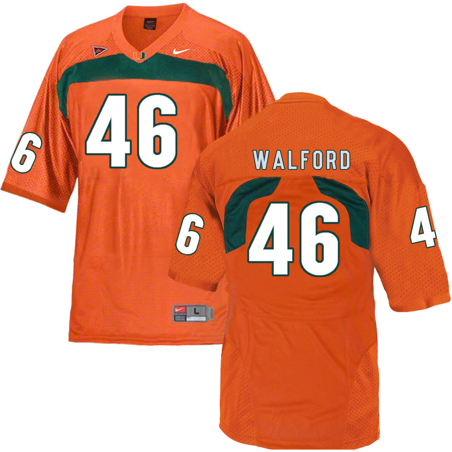 Miami Hurricanes 46 Clive Walford Orange College Football Jersey