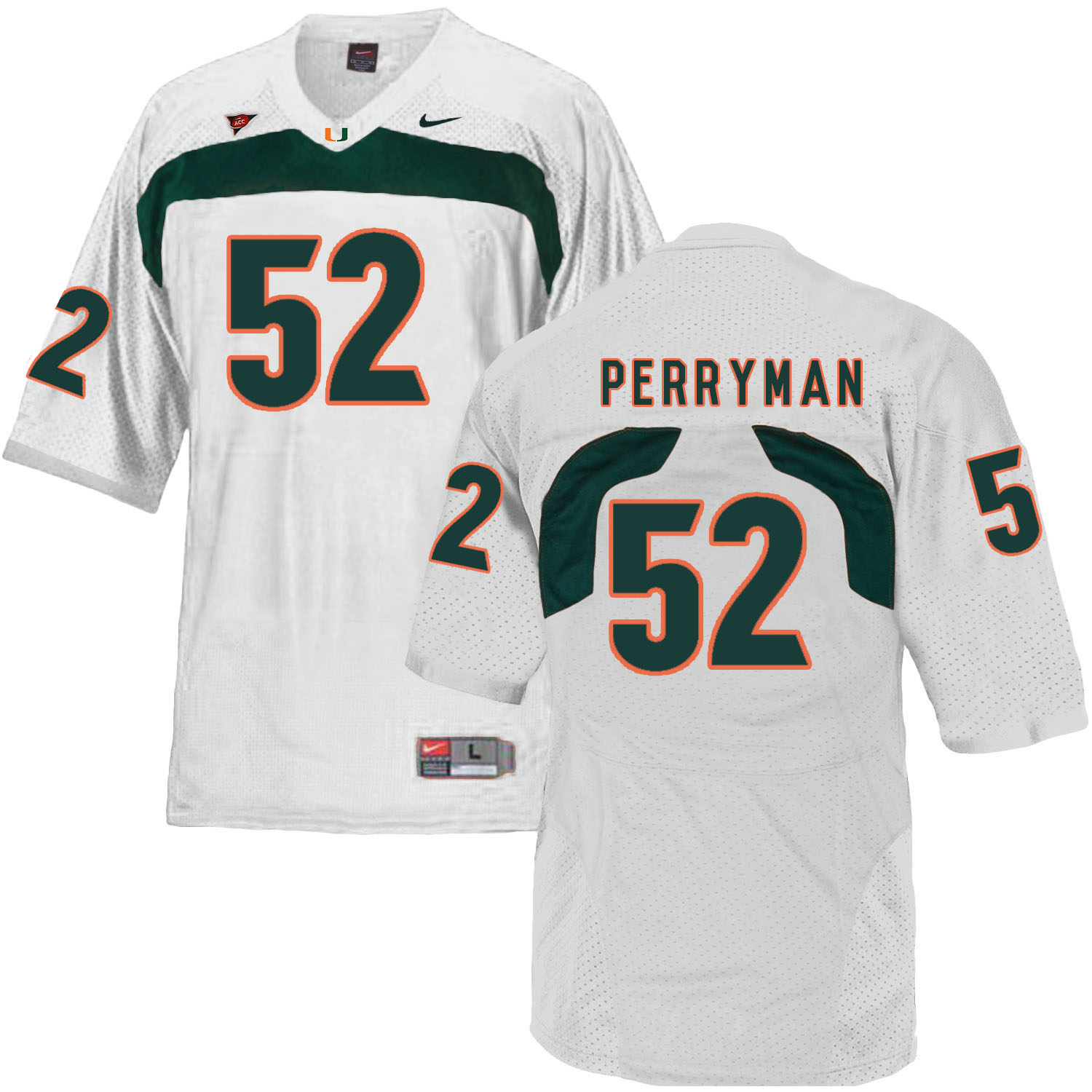 Miami Hurricanes 52 Denzel Perryman White College Football Jersey