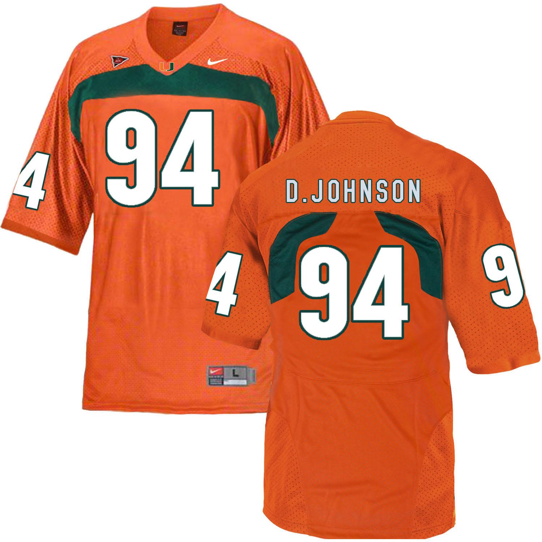 Miami Hurricanes 94 Dwayne Johnson Orange College Football Jersey