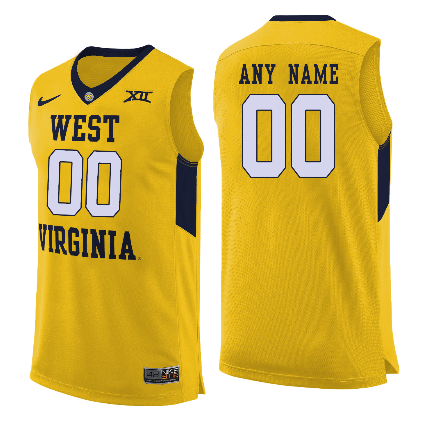 West Virginia Mountaineers Yellow Men's Customized College Basketball Jersey