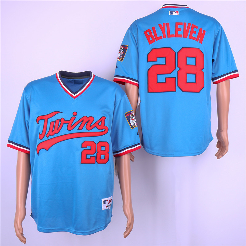Twins 28 Bert Blyleven Blue Turn Back The Clock Jersey