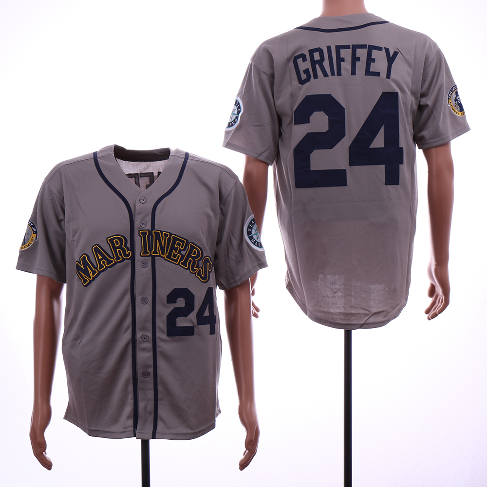 Mariners 24 Ken Griffey Jr. Gray Throwback Jersey