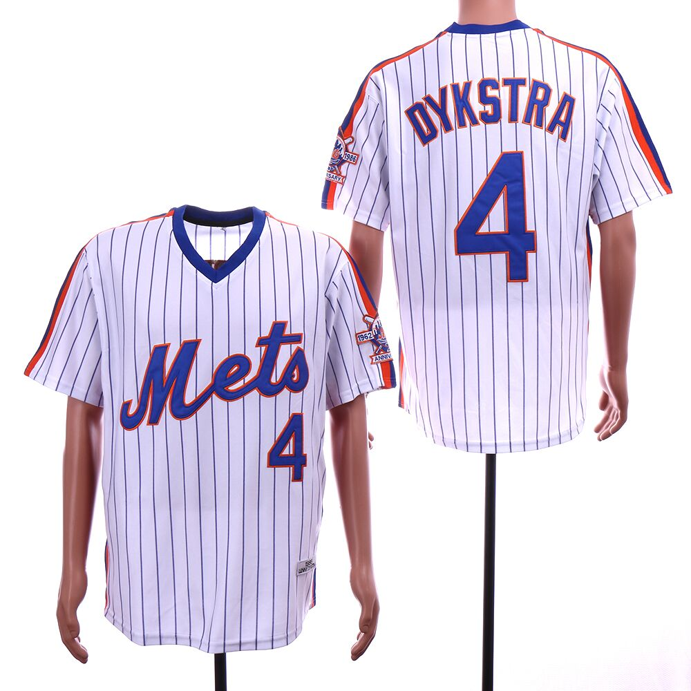 Mets 4 Lenny Dykstra White Throwback 25th Anniversary Jersey