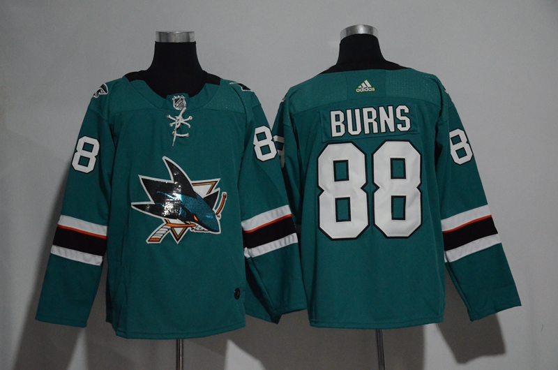 Sharks 88 Brent Burns Teal Glittery Edition Adidas Jersey