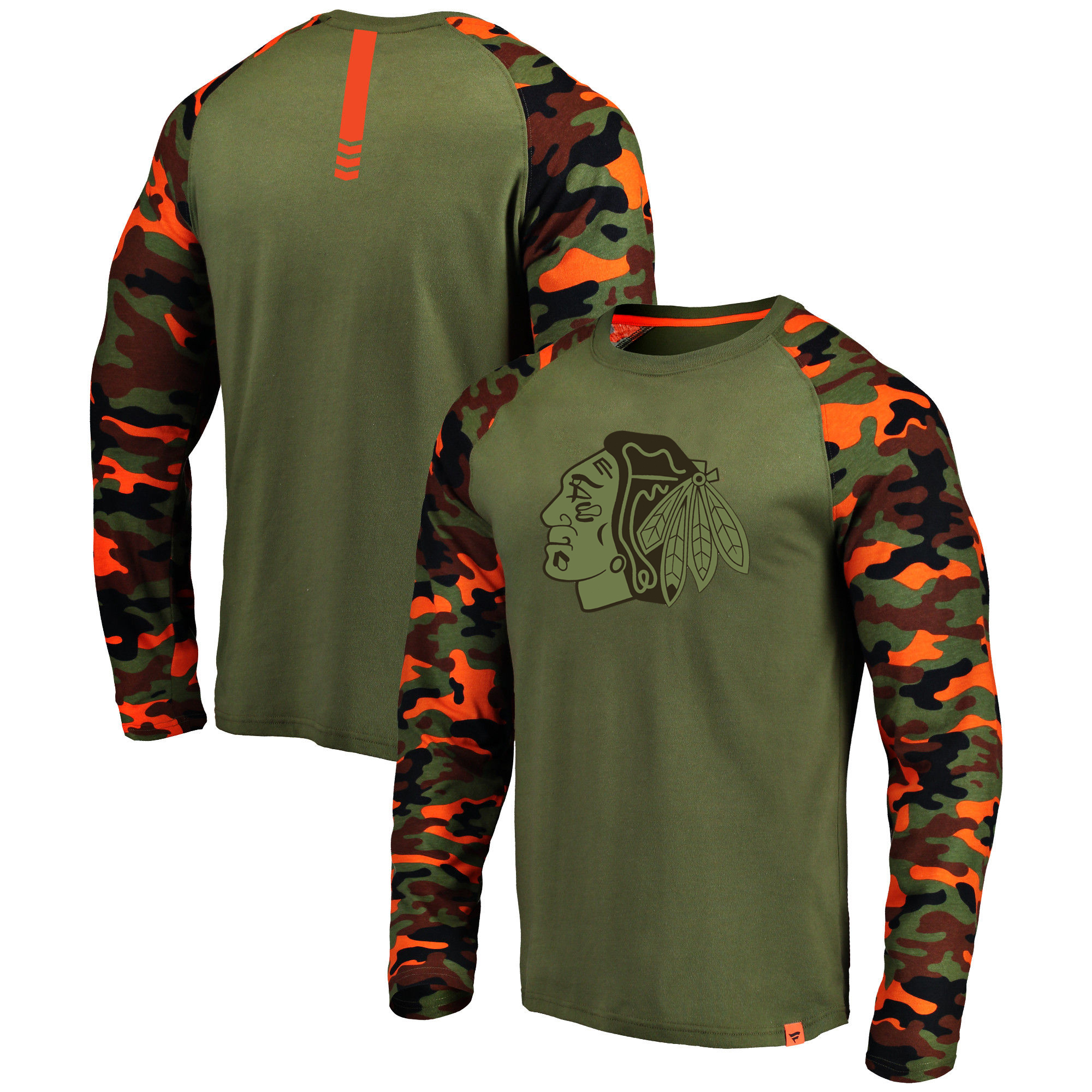 Chicago Blackhawks Fanatics Branded Olive/Camo Recon Long Sleeve Raglan T-Shirt