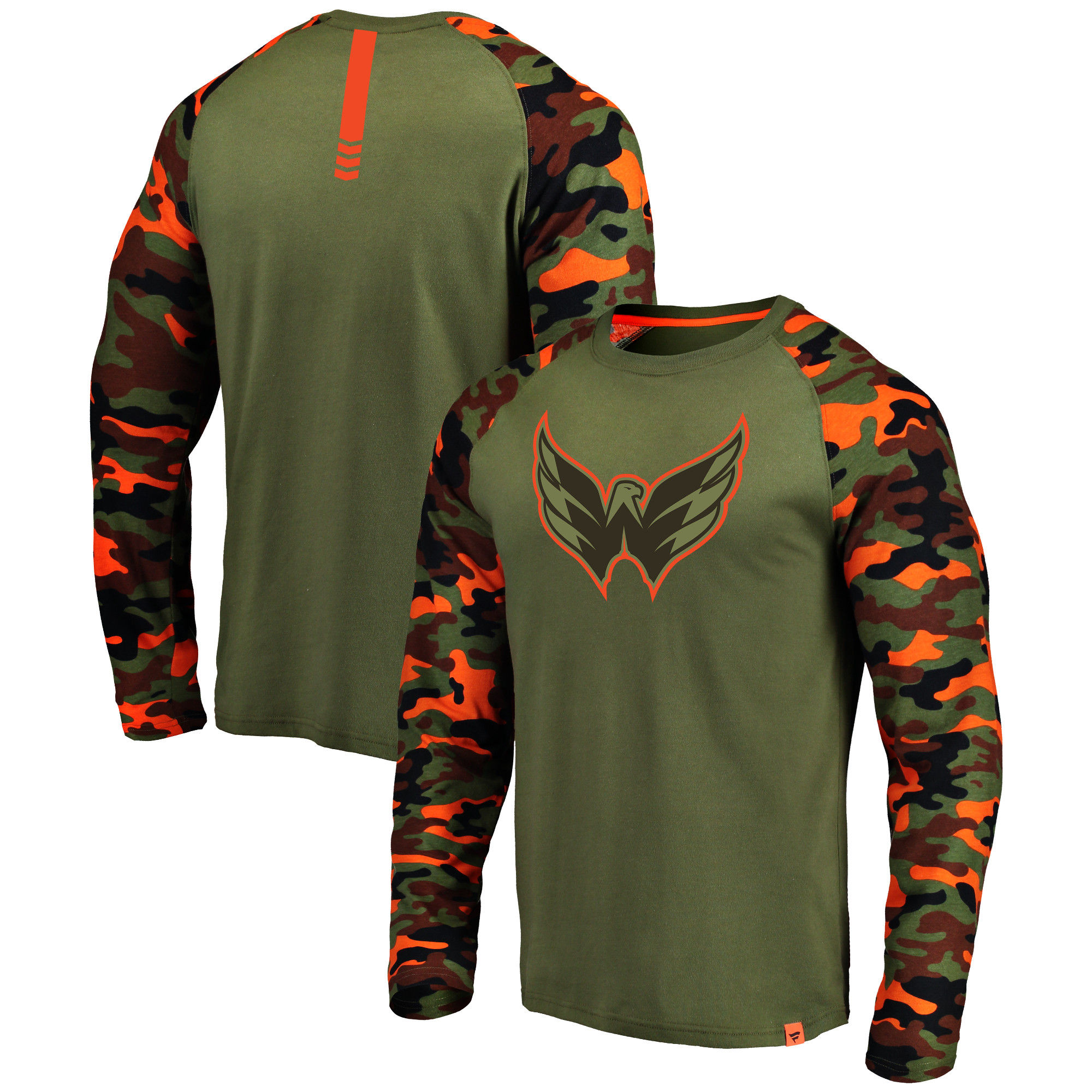 Washington Capitals Fanatics Branded Olive/Camo Recon Long Sleeve Raglan T-Shirt