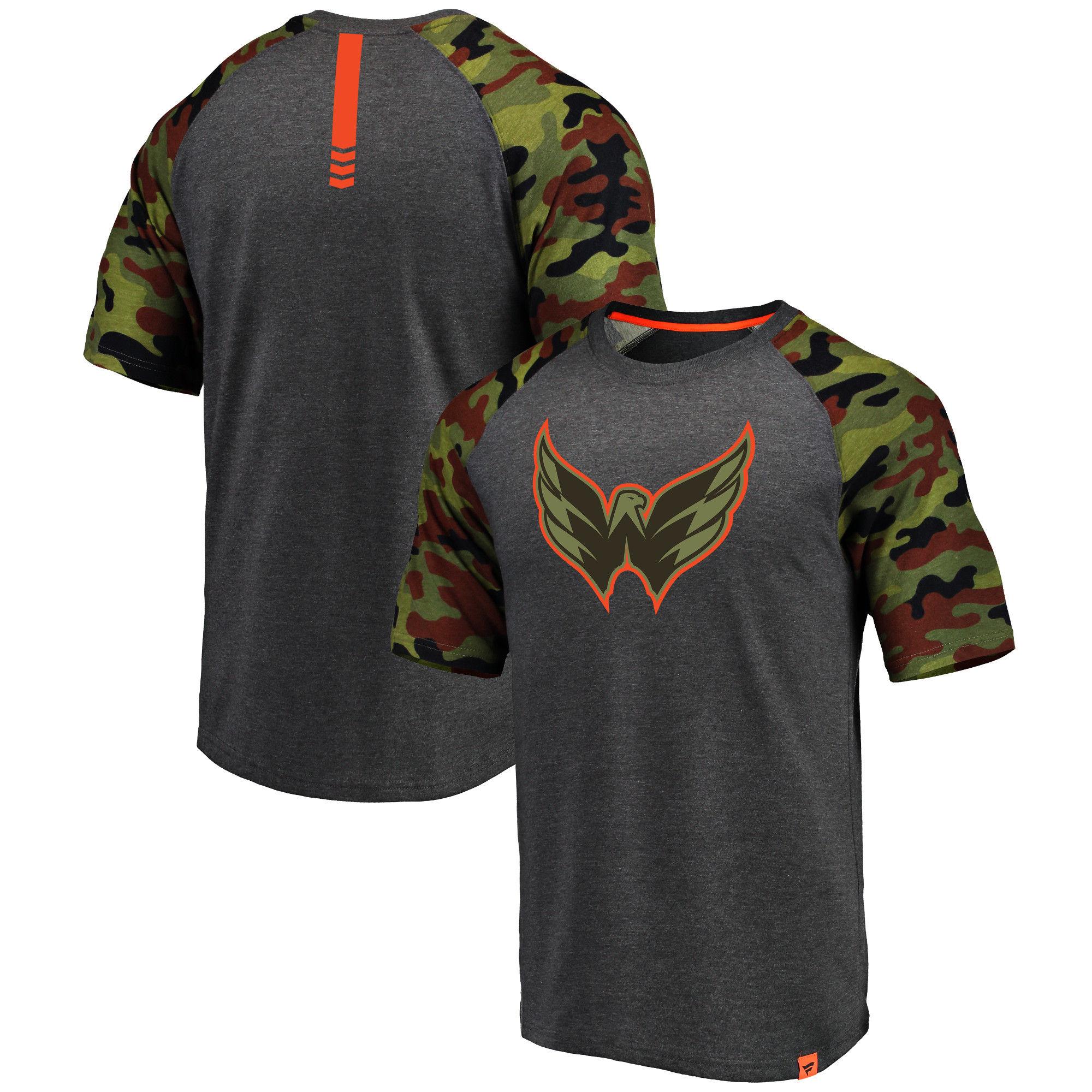 Washington Capitals Fanatics Branded Heathered Gray/Camo Recon Camo Raglan T-Shirt