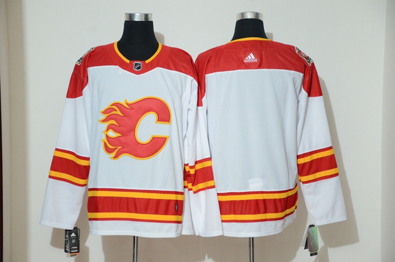 Flames Blank White 2019 Heritage Classic Breakaway Adidas Jersey