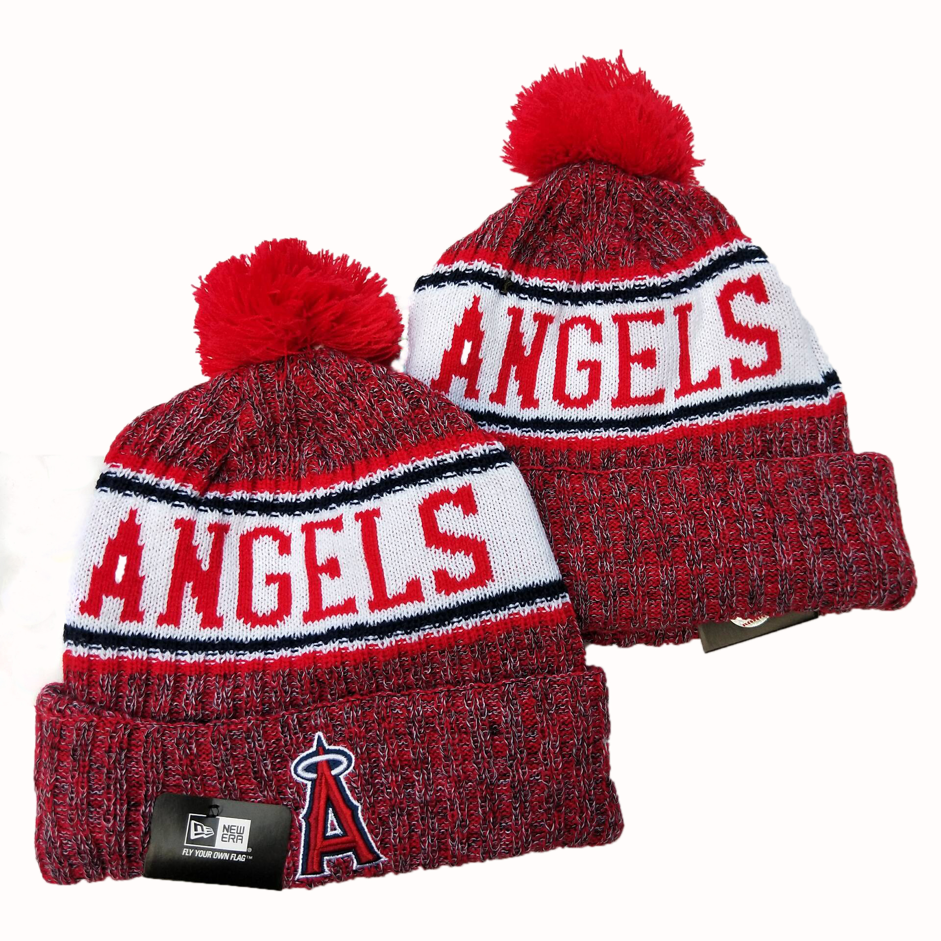 Angels Team Logo Red Cuffed Pom Knit Hat YD