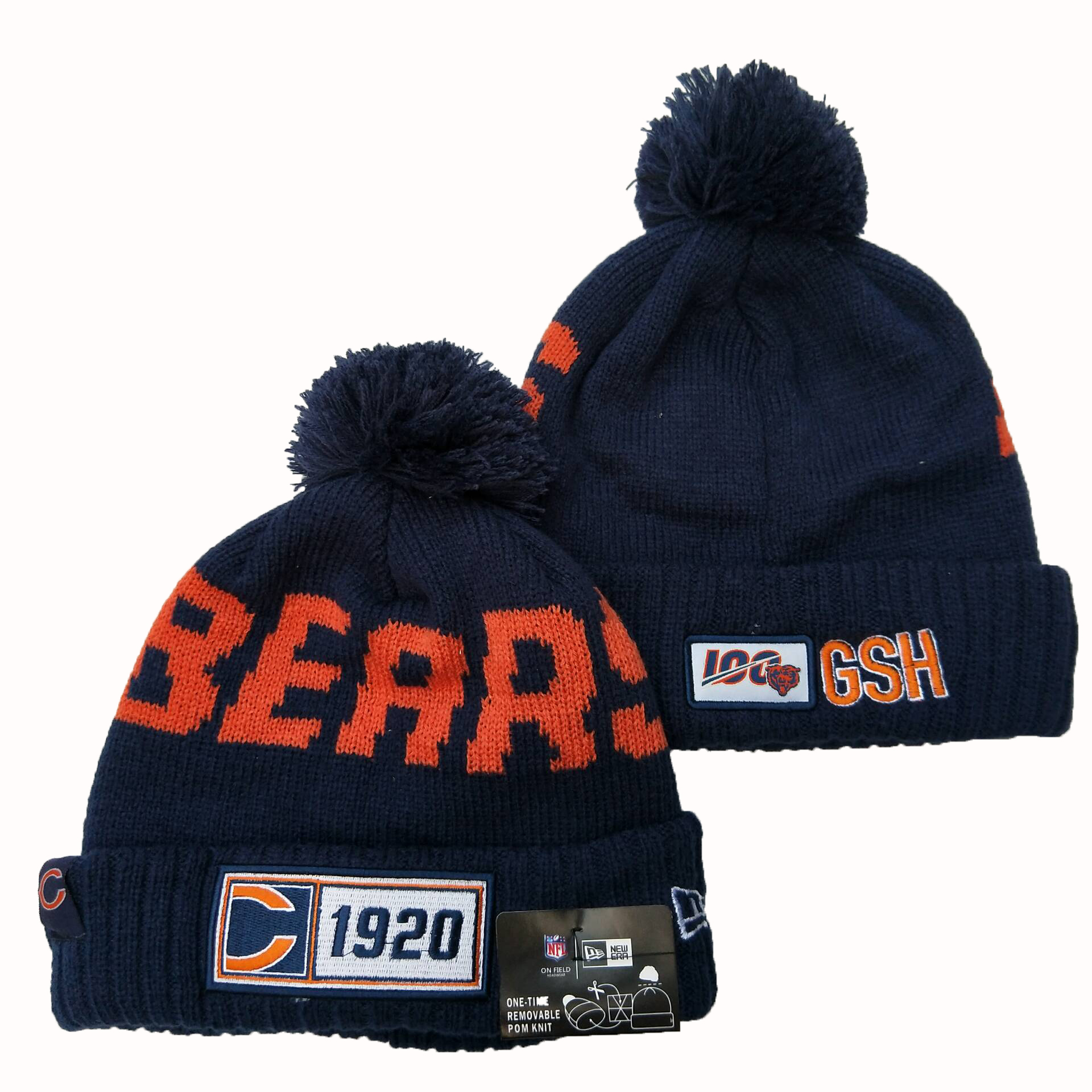 Bears Team Logo Navy 100th Season Pom Knit Hat YD