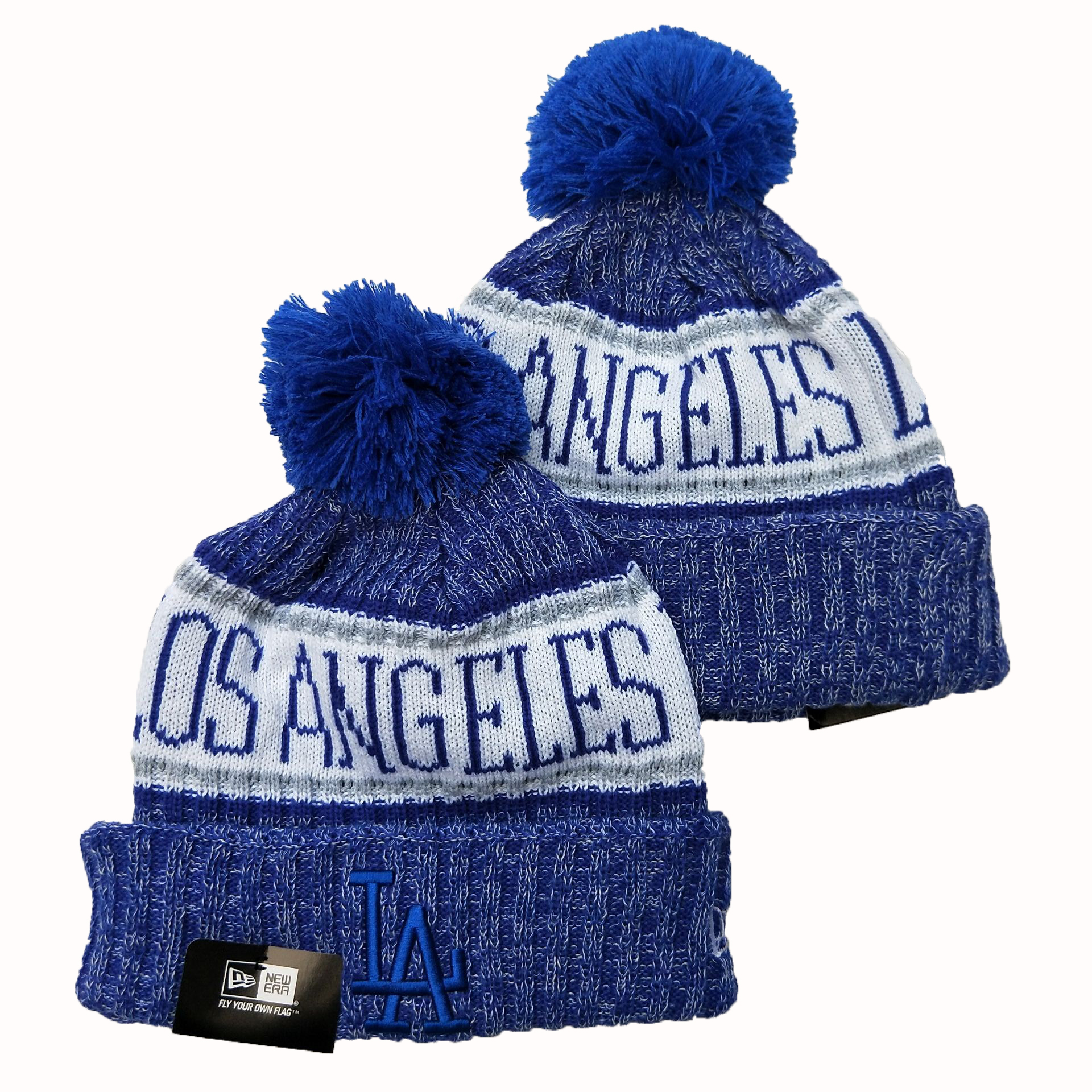 Dodgers Team Logo Royal Cuffed Pom Knit Hat YD