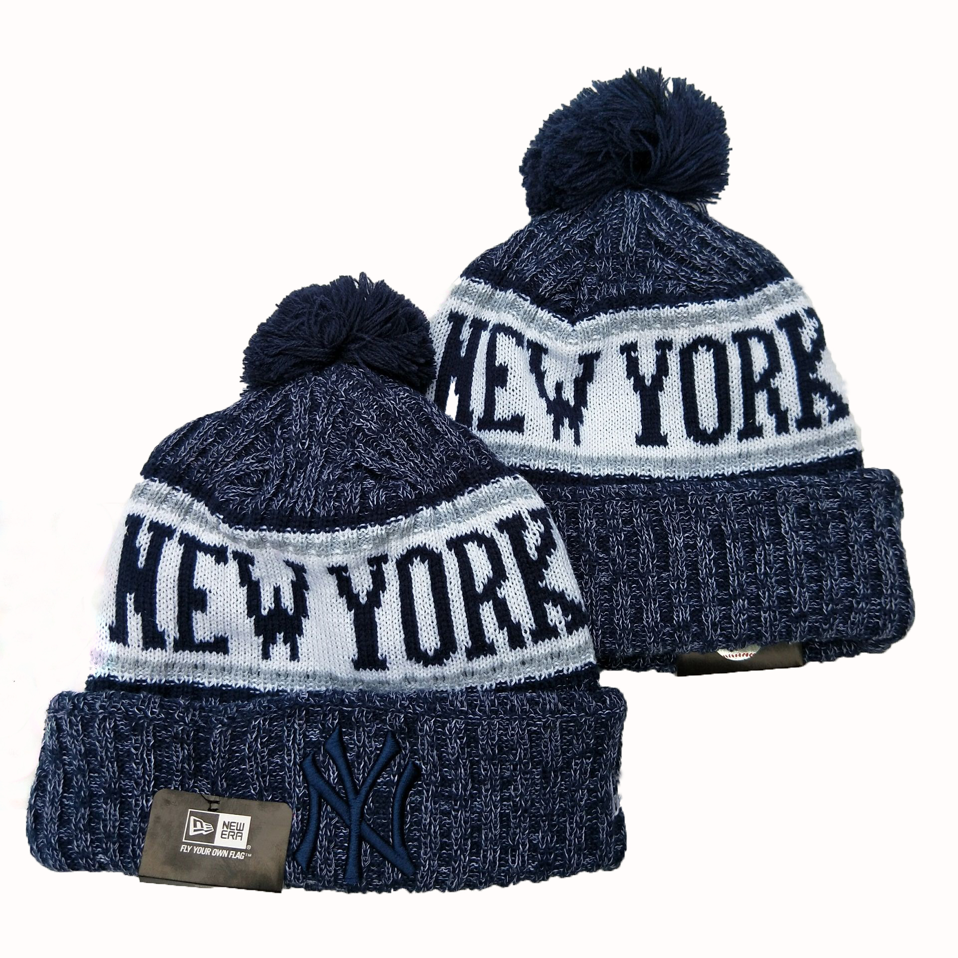 New York Yankees Team Logo Navy Cuffed Pom Knit Hat YD