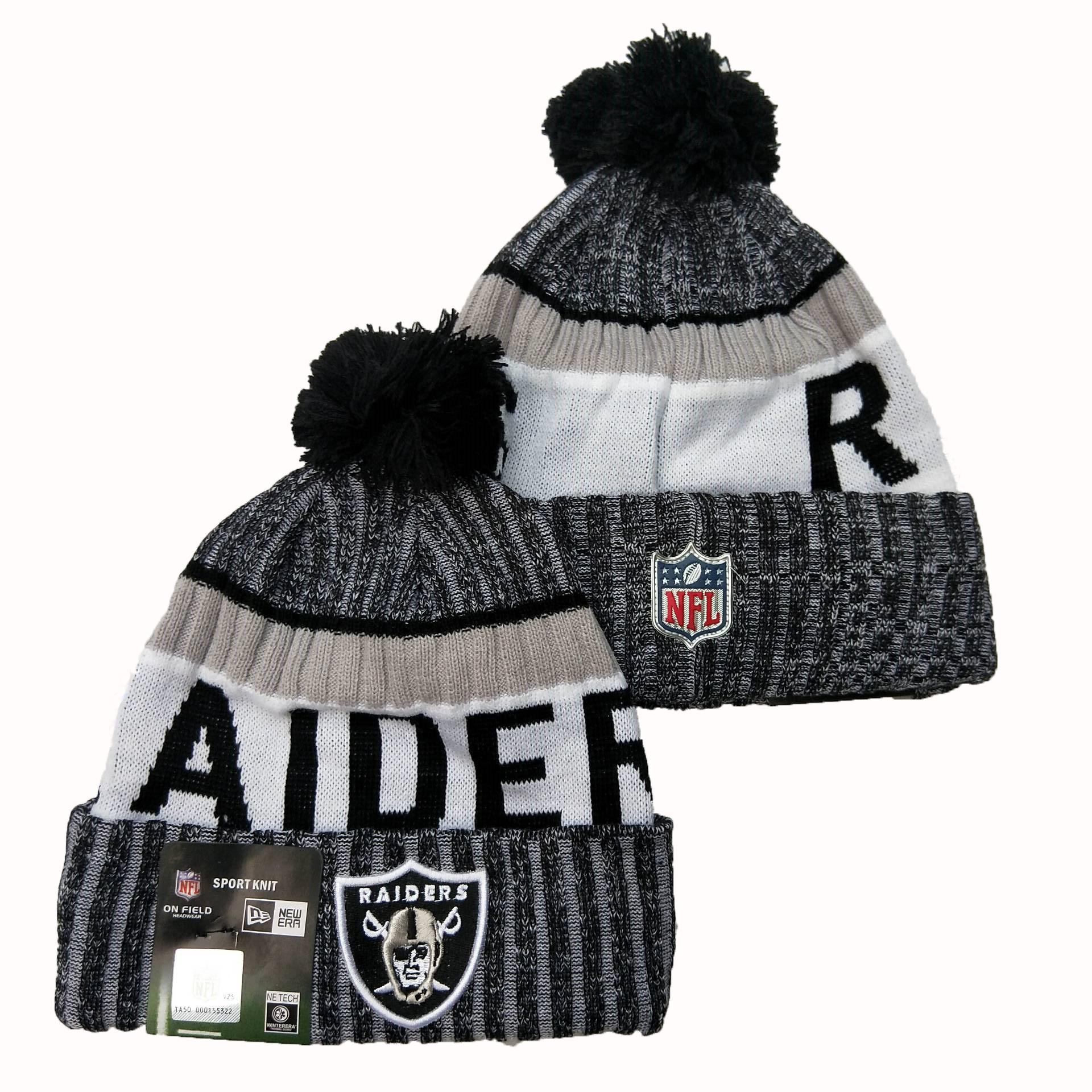 Raiders Fresh Logo Cuffed Pom Knit Hat YD