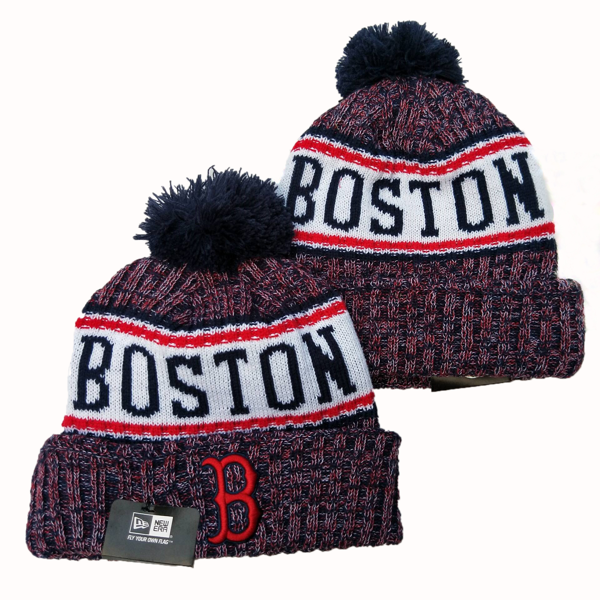 Red Sox Team Logo Red Cuffed Pom Knit Hat YD