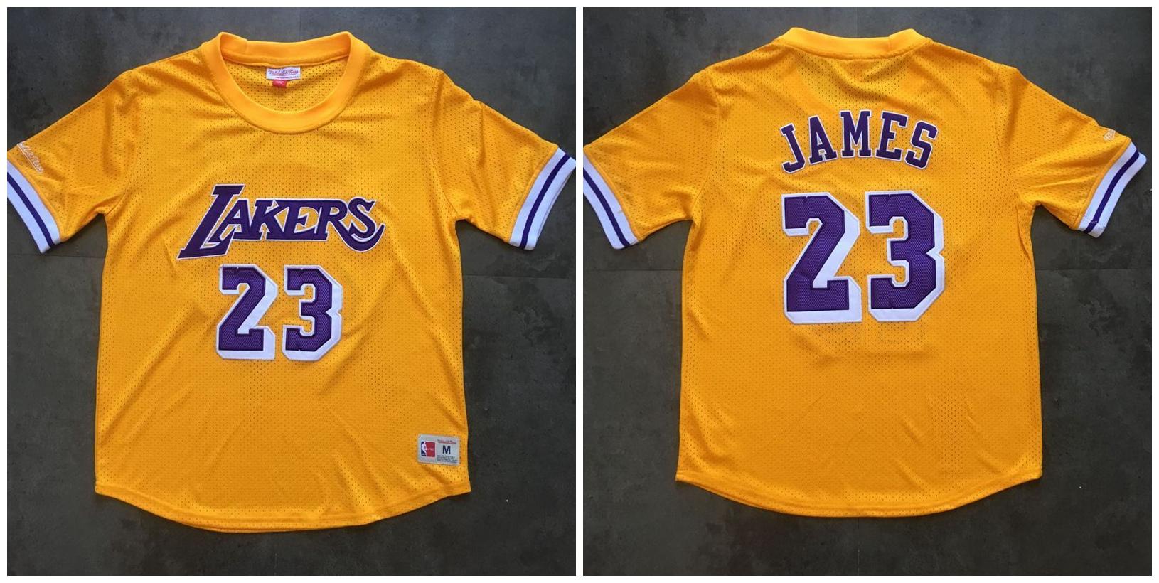 Lakers 23 Lebron James Yellow Short Sleeve Mitchell & Ness Jersey