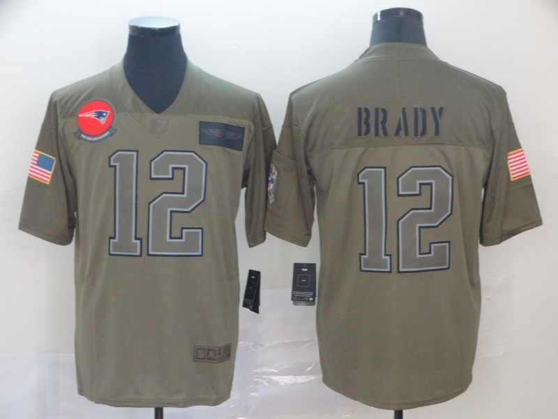 Nike Patriots 12 Tom Brady 2019 Olive Salute To Service Limited Jersey