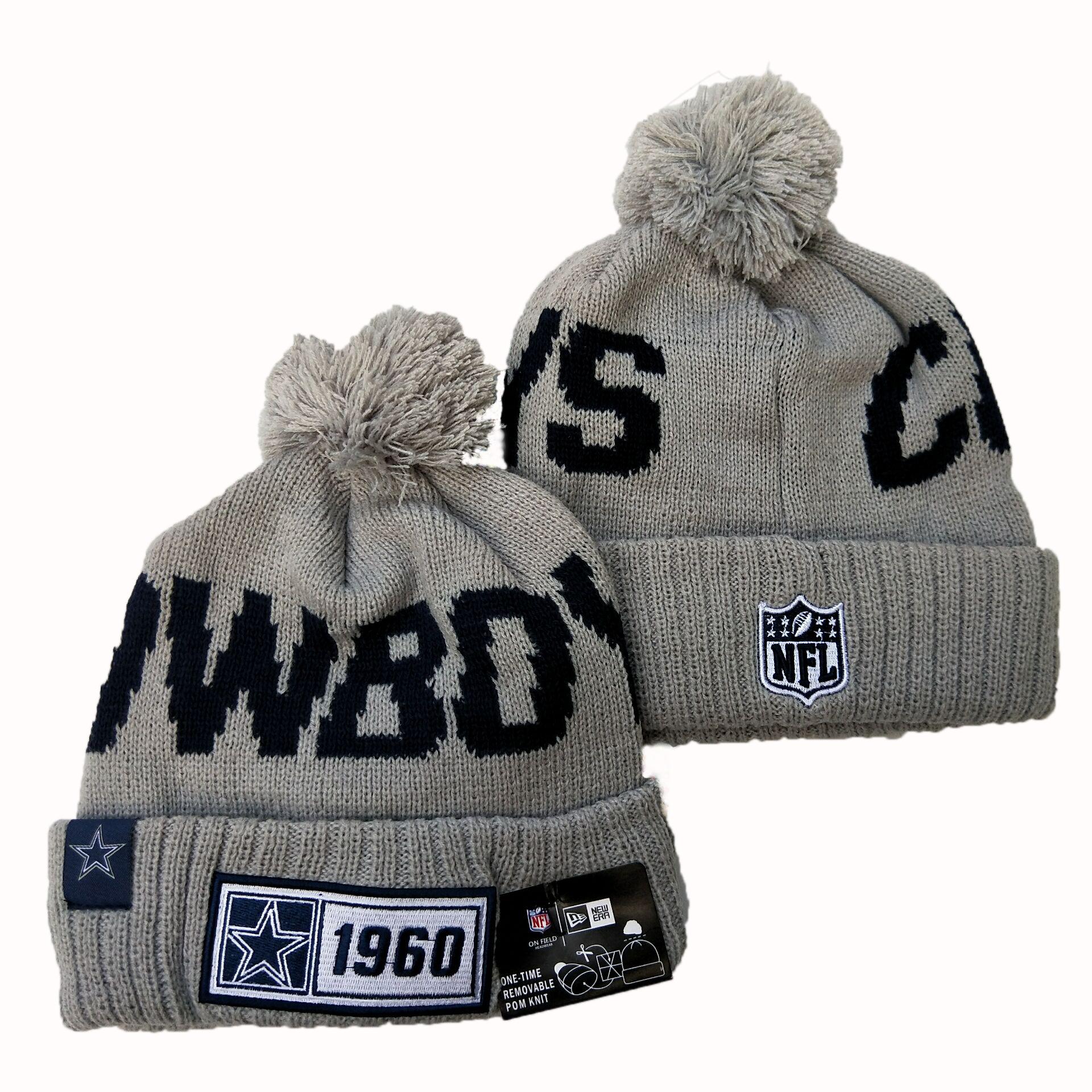 Cowboys Team Logo Gray Pom Knit Hat YD