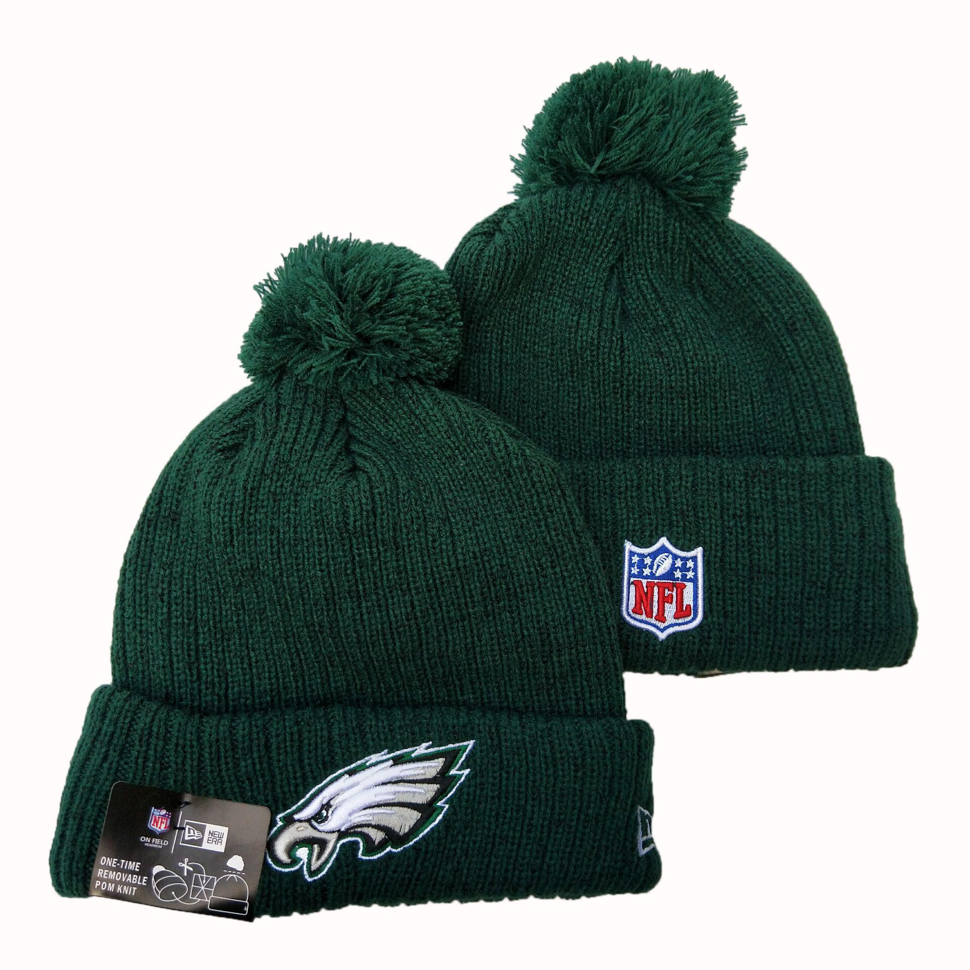 Eagles Fresh Logo Green Pom Knit Hat YD
