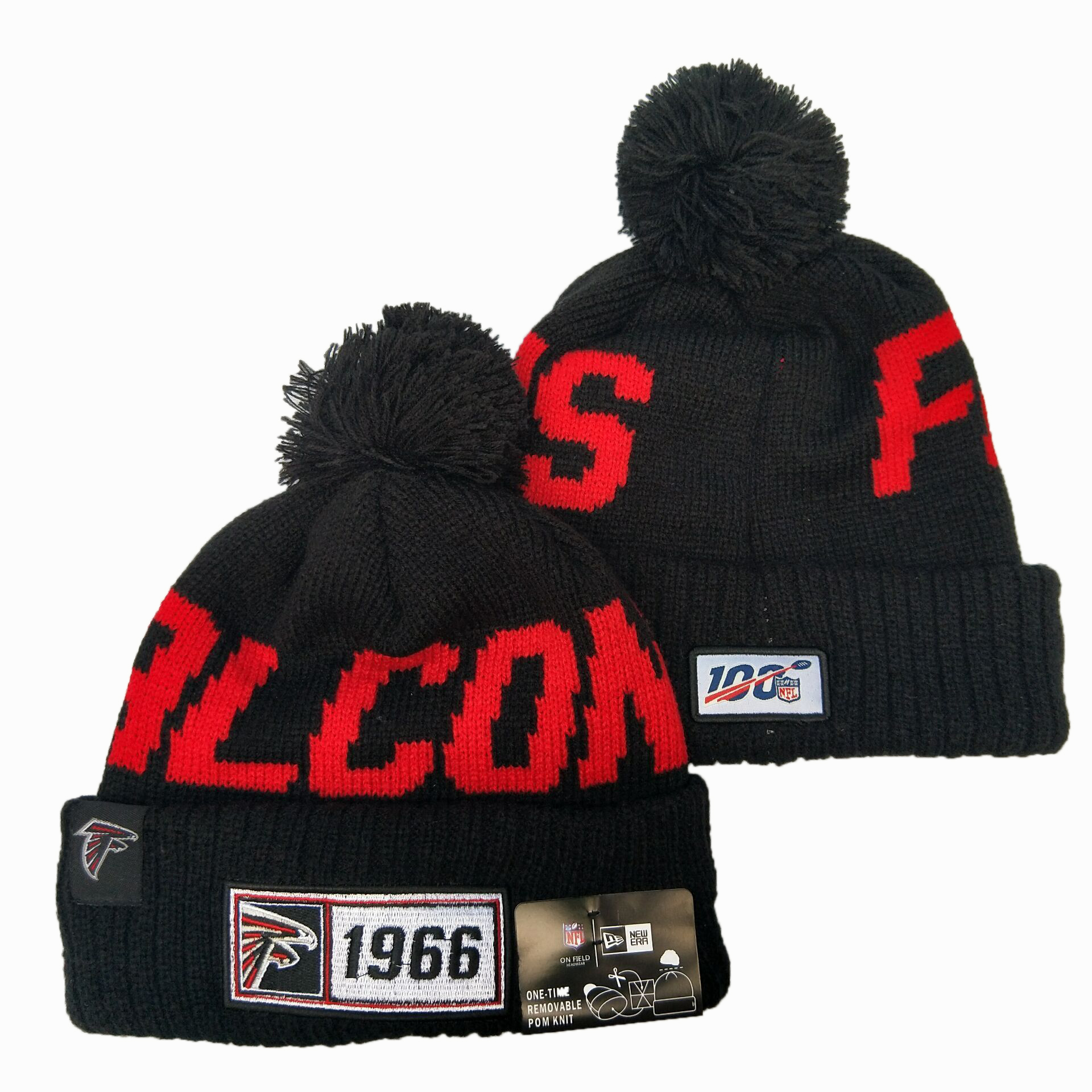 Falcons Team Logo Black 100th Season Pom Knit Hat YD