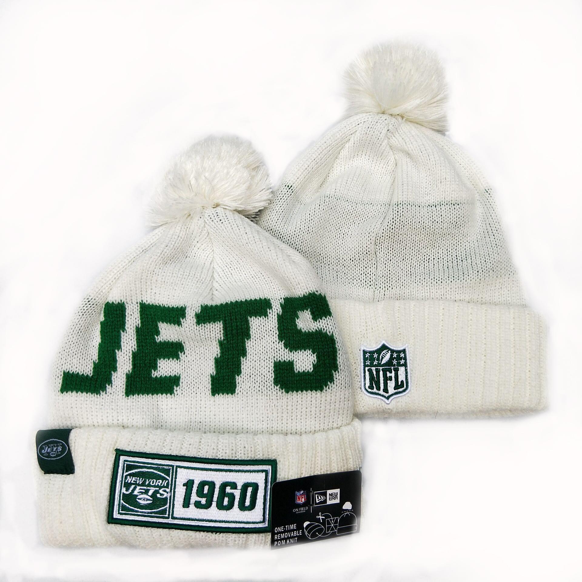 Jets Team Logo White Pom Knit Hat YD