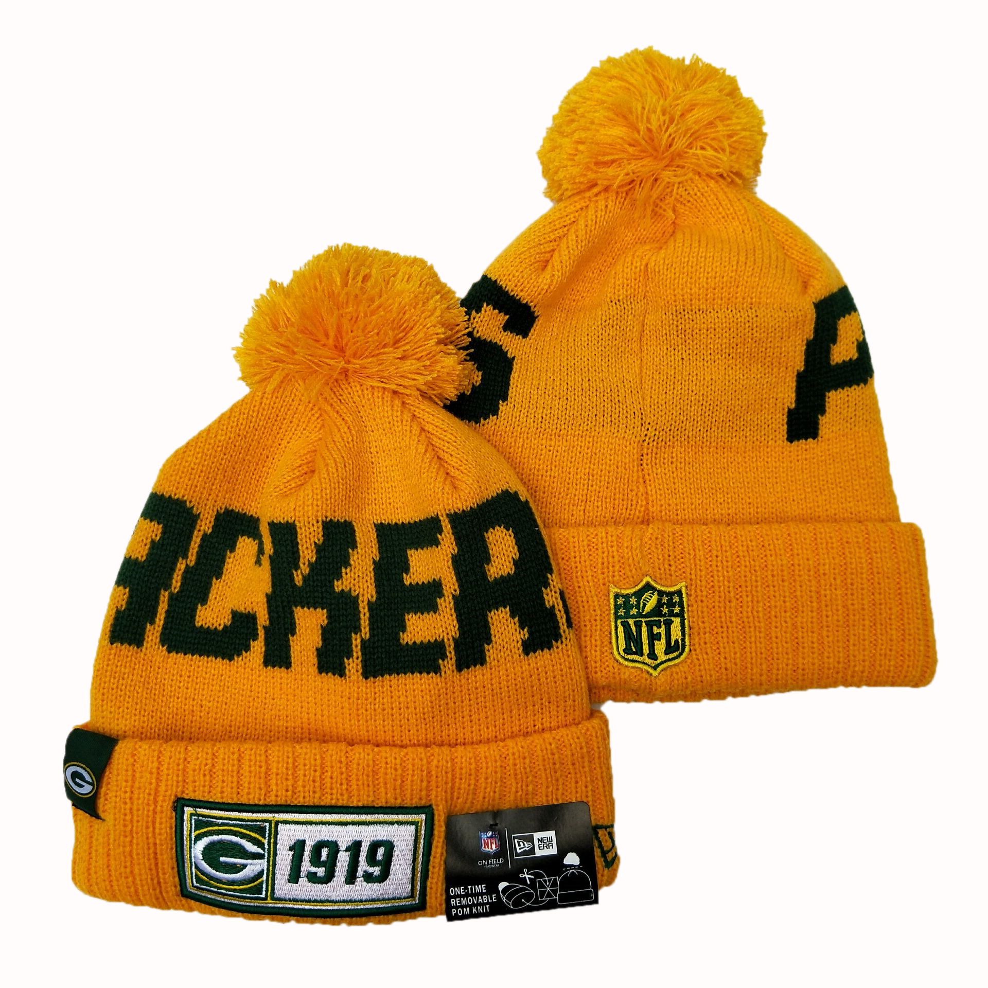 Packers Team Logo Yellow Pom Knit Hat YD