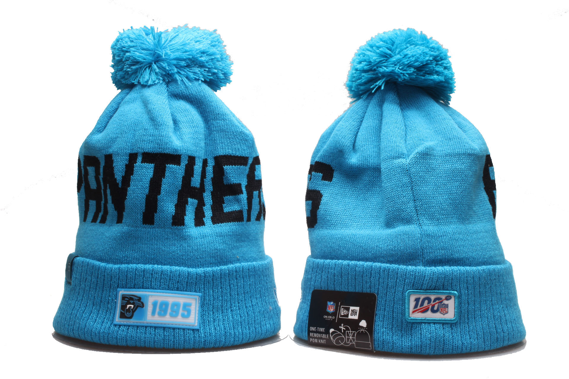 Panthers Team Logo Blue 100th Season Cuffed Pom Knit Hat YP